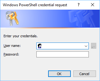 Powershell によって生成された認証情報のリクエストのスクリーンショット