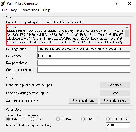 Captura de pantalla de la clave pública de PuTTYgen