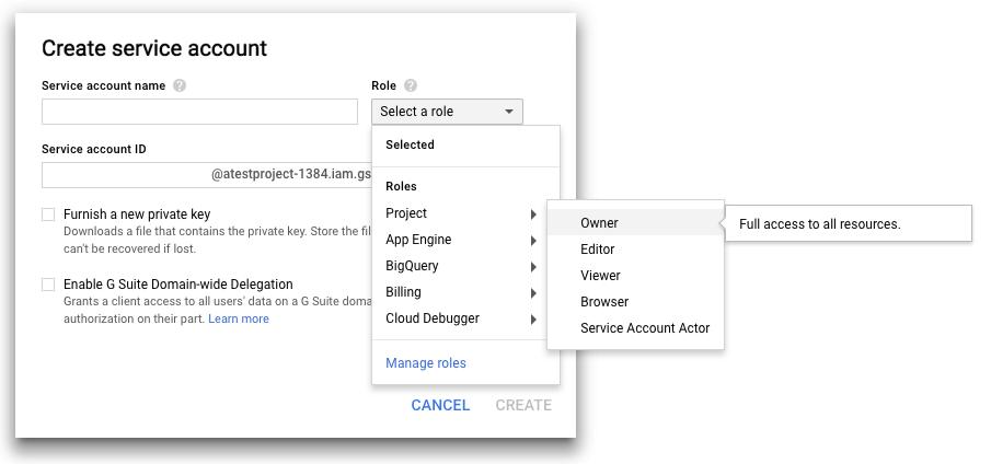 Captura de tela da adição de uma conta de serviço