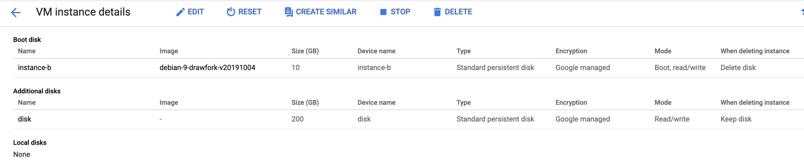 Single-disk instance.