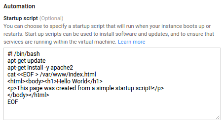 Screenshot of setting startup script in the     Cloud Platform Console