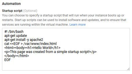 Captura de tela da configuração do script de inicialização no Console do Cloud