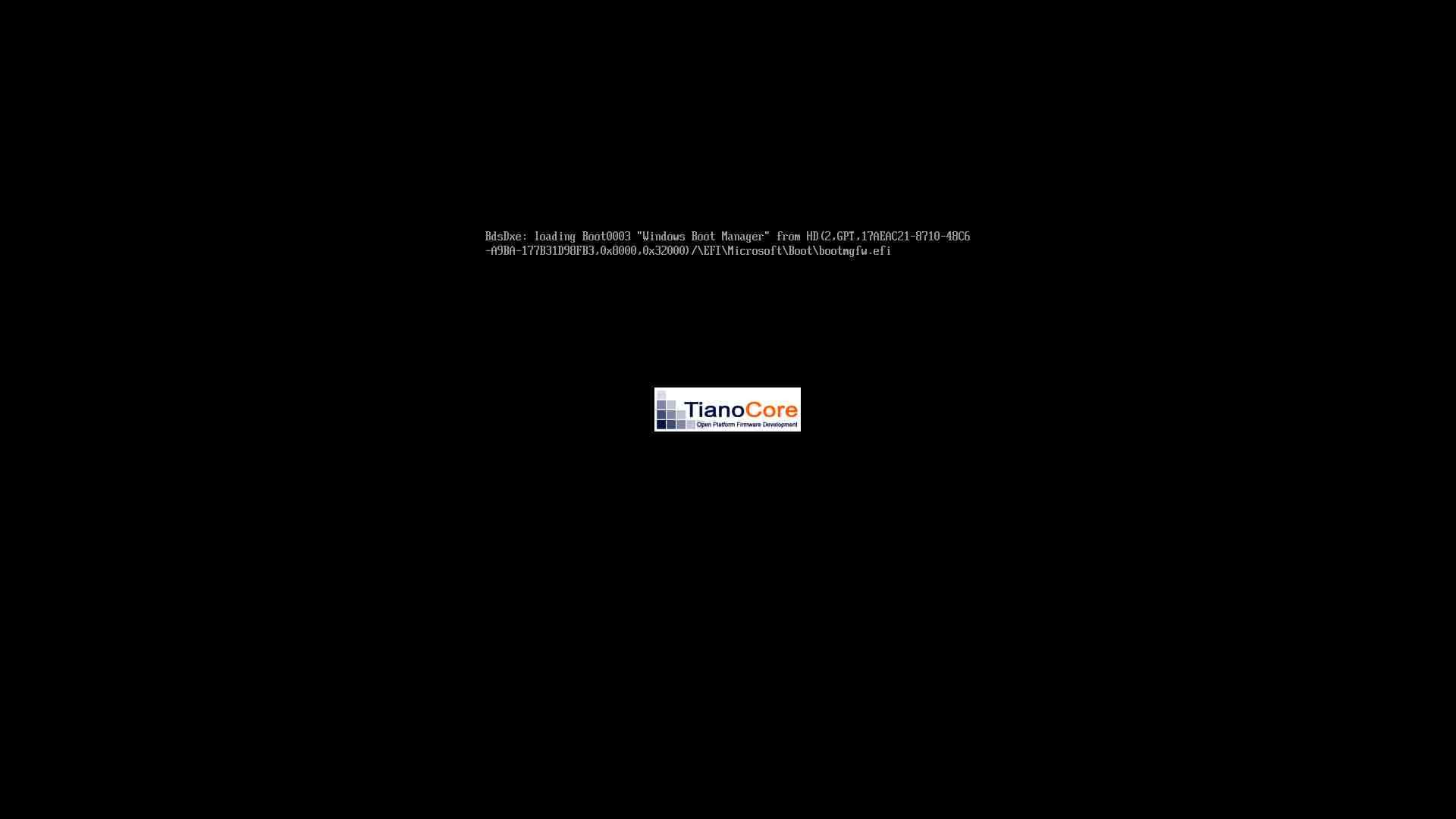 O UEFI carregando o gerenciador de inicialização