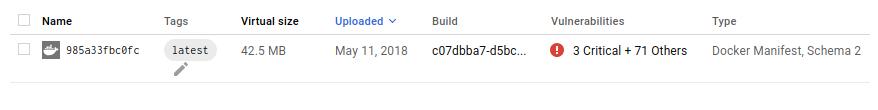 Screenshot of an image with vulnerabilities