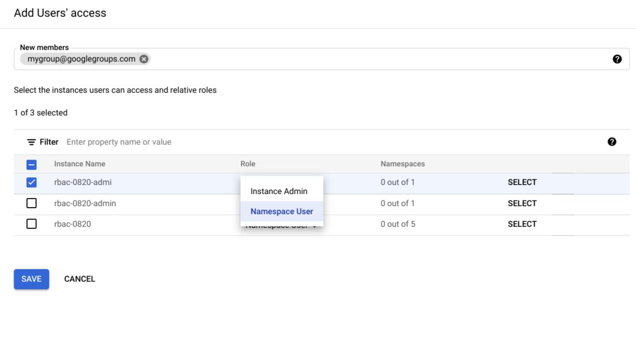 Selecciona las funciones del usuario de espacio de nombres