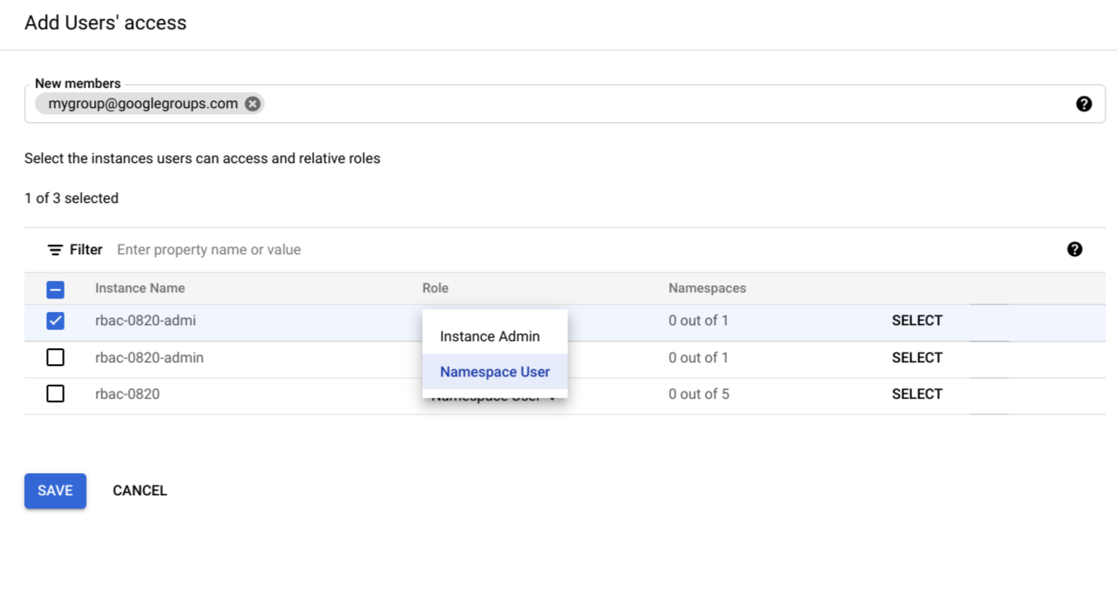 Selecionar funções do usuário de namespace