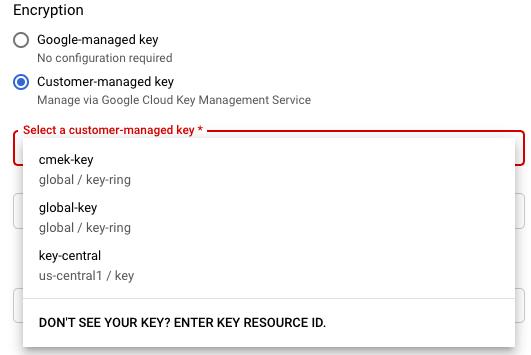 En las opciones de encriptación de la página Crear un trabajo a partir de una plantilla, se incluyen una clave administrada por Google o claves administradas por el cliente.