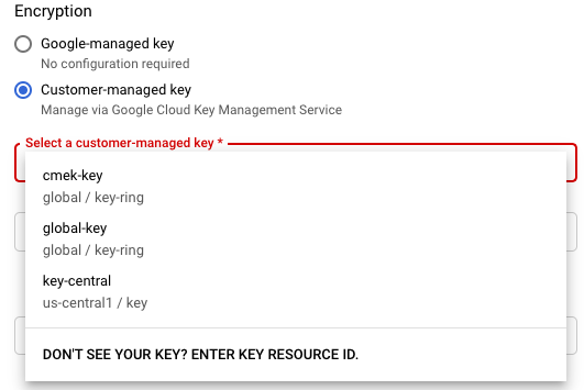 The encryption options on the Create job from template page to use               a Google-managed key or customer-managed keys.
