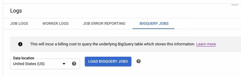 El botón Cargar trabajos de BigQuery (Load BigQuery Jobs) en la tabla de información de trabajos de BigQuery