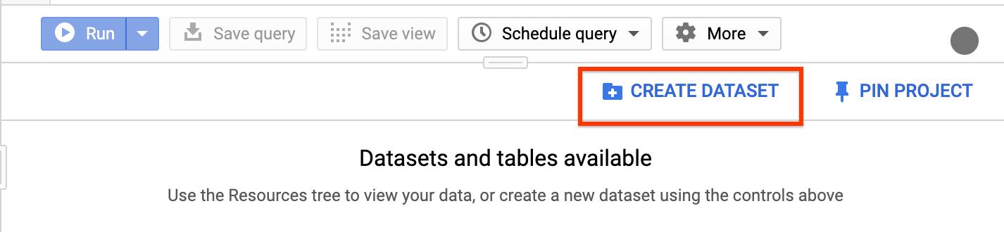 El botó Create dataset (Crear conjunto de datos) en laIU de BigQuery.
