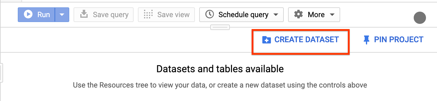 BigQuery UI의 데이터 세트 만들기 버튼입니다.