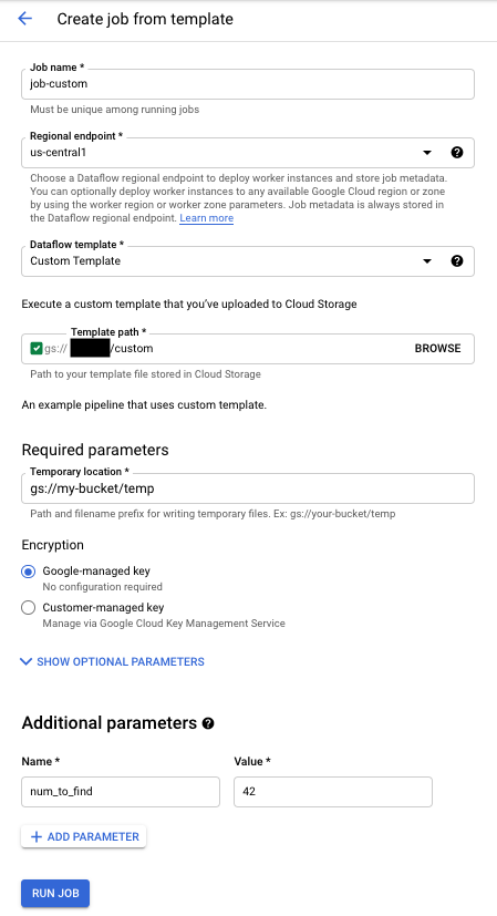 Custom Template Execution Form