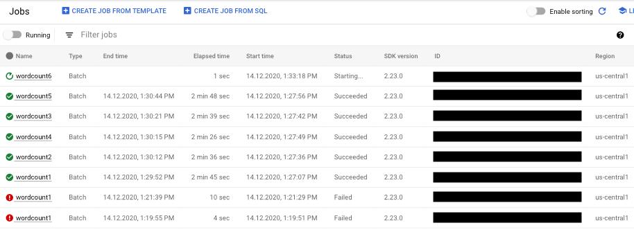 Una lista de trabajos de CloudDataflow con trabajos en los estados en ejecución, con errores y finalizado de manera correcta.