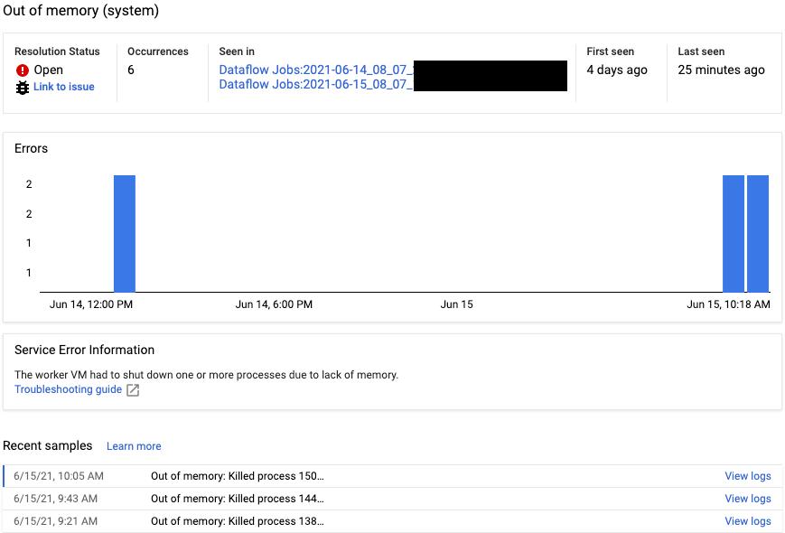 La página de detalles del grupo de errores para un error del servicio de Dataflow.