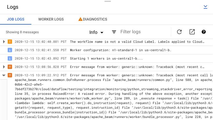 El panel de registros de trabajos, con los informes de errores de trabajo, el filtro de nivel de registro y la expansión de mensajes de error destacados.