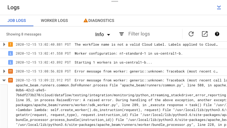 The logs panel with Job Logs, Diagnostics, log level filter, and error message expansion highlighted.