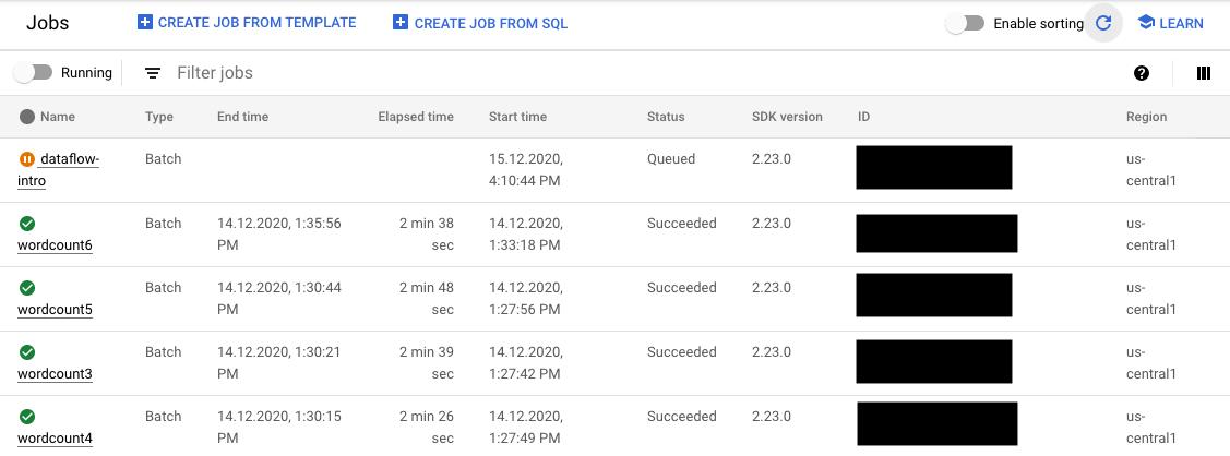 Una lista de trabajos de CloudDataflow en GCPConsole cuyos estados son En ejecución, En cola, Con errores y Se completó con éxito