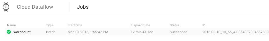Job do WordCount no Cloud Dataflow com status Succeeded.