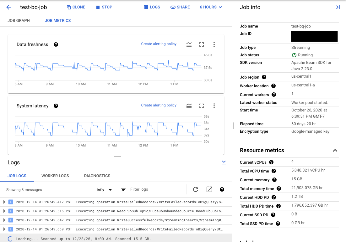 Job metrics(작업 측정항목) 탭이 선택된 Dataflow 모니터링 UI의 보기 이 모드에서는 작업 측정항목 차트, 작업 정보, 작업 로그, 작업자 로그, 진단, 시간 선택기 도구를 볼 수 있습니다.