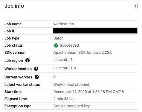 Sección Resumen de trabajo, en la cual se enumeran los detalles de un trabajo de CloudDataflow.           El tipo de clave que usa tu trabajo aparece en el campo Tipo de encriptación.