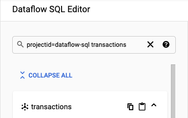 Data Catalog search panel in Dataflow SQL workspace.