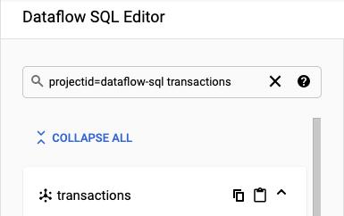 Panel de búsqueda de DataCatalog en el lugar de trabajo de Dataflow SQL.