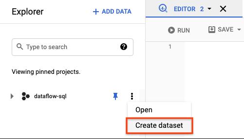 Menú de acciones en el explorador de conjuntos de datos de BigQuery.