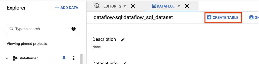 """Botão """"Criar tabela"""" no explorador de conjuntos de dados do BigQuery."""