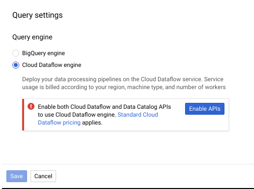 The Query settings menu with the Enable APIs prompt