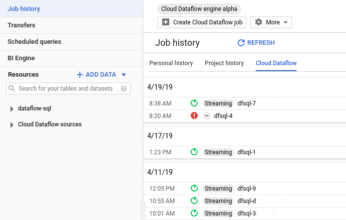 Job history listed with date and time that job was run and a status icon about the job.