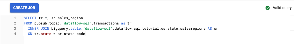 Dataflow SQL workspace with the query from the tutorial visible in the editor.