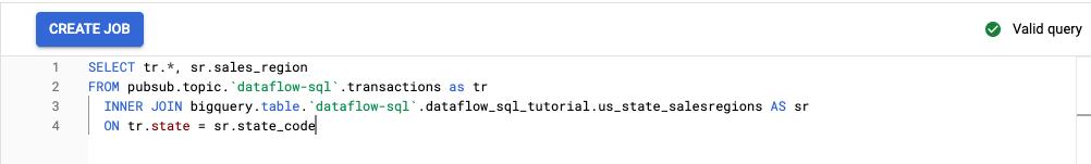 Espacio de trabajo de Dataflow SQL con la consulta del instructivo visible en el editor.