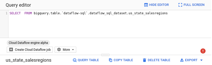 The Query table button populates the query box