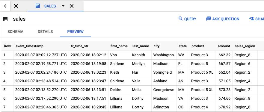 La tabla de vista previa de ventas contiene columnas para tr_time_str, first_name, last_name, city, state, product, amount y sales_region.