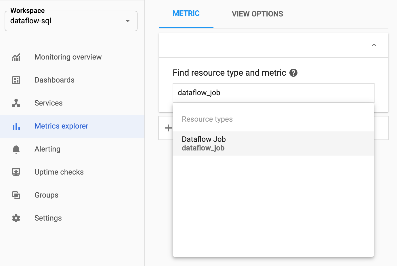 Selecting dataflow_job resource in the Metrics explorer.