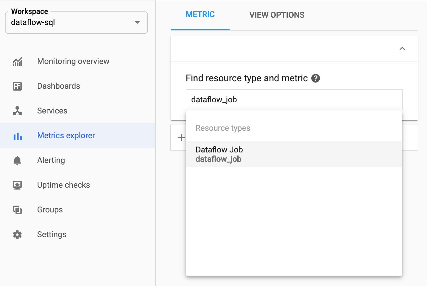 Selecionando o recurso dataflow_job no Metrics Explorer.