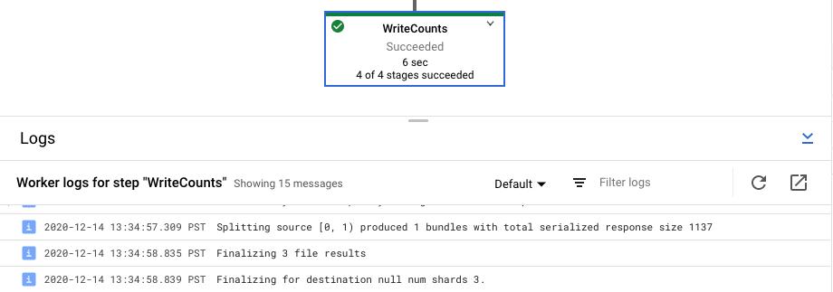 Se seleccionó un paso de canalización seleccionado con la opción de registros Step Worker.