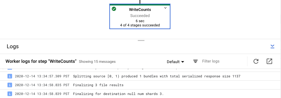A selected pipeline step with the step worker logs highlighted.