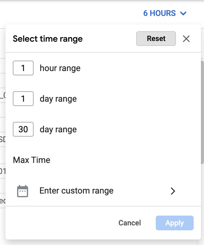 La herramienta de selección de tiempo te permite seleccionar un intervalo de tiempo con incrementos de hora y día, o un rango personalizado.