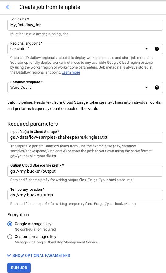 Formulario de ejecución de una plantilla de WordCount