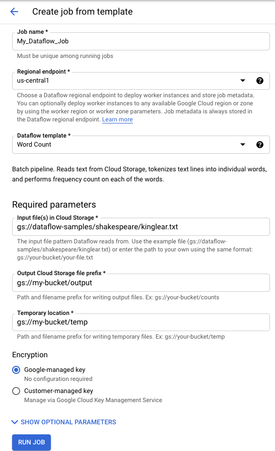WordCount Template Execution Form
