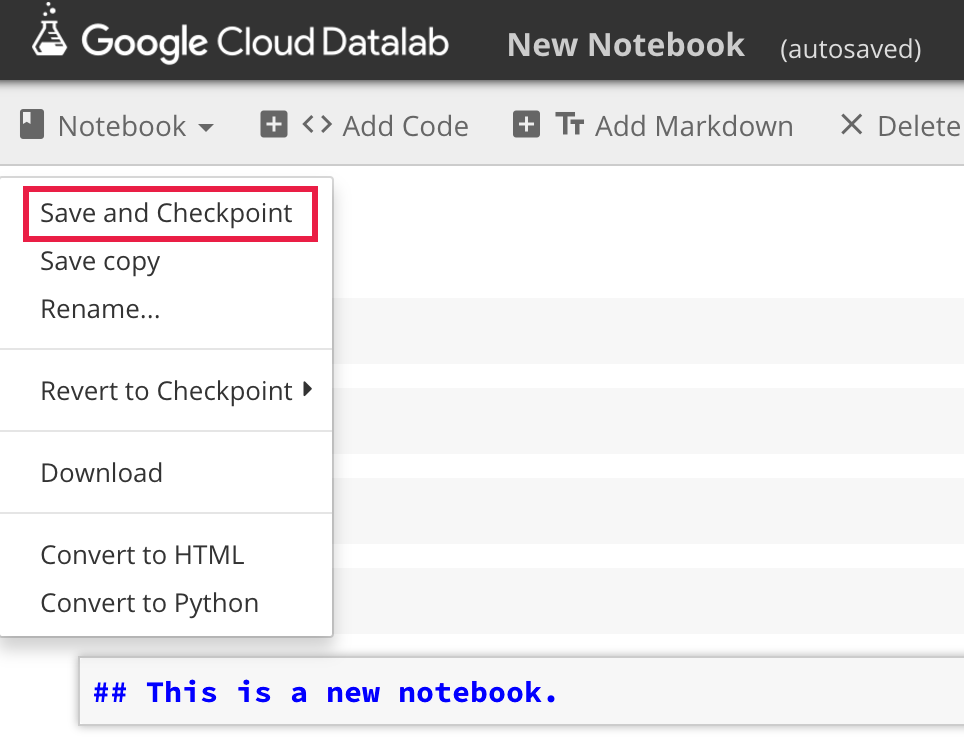 Working with notebooks | Cloud Datalab Documentation
