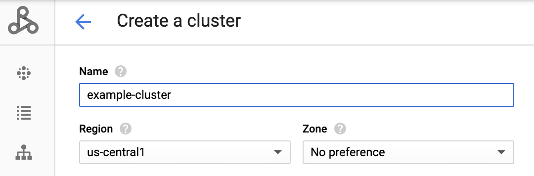 create google dataproc cluster in web console