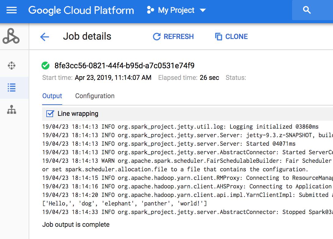 Job driver output | Cloud Dataproc Documentation | Google Cloud