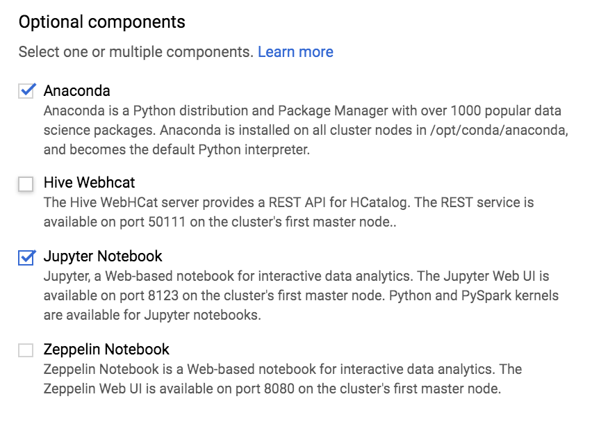 Install and run a Jupyter notebook on a Cloud Dataproc cluster