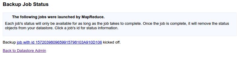 Backup job status