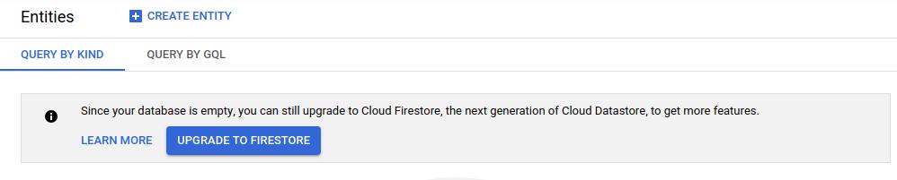 Capture d'écran de l'option de mise à niveau vers CloudFirestore.