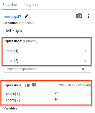 """The results from the expression field shows the values """"c"""" and """"b""""."""