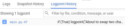The logpoint history tab shows that a logpoint has been set on line 18.