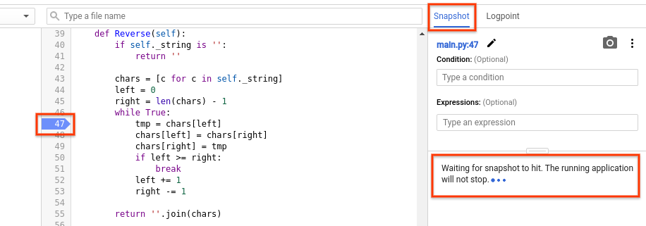 The debugger interface shows that a snapshot is set on line 47.